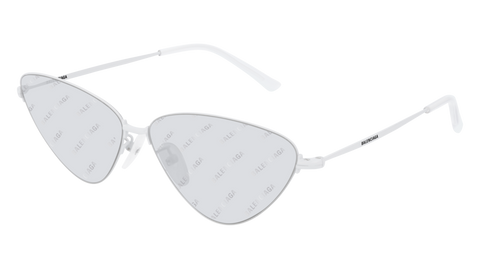Balenciaga - BB0015S White Sunglasses / Grey Mirror Lenses