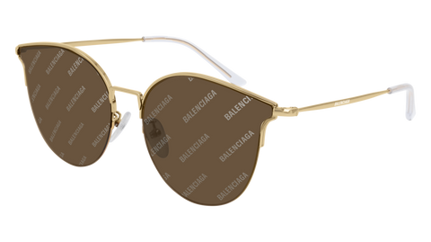 Balenciaga - BB0021SK Gold Sunglasses / Brown Mirror Lenses