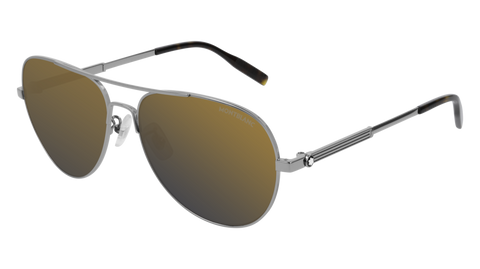 MontBlanc - MB0027S Light Ruthenium Sunglasses / Gold  Lenses