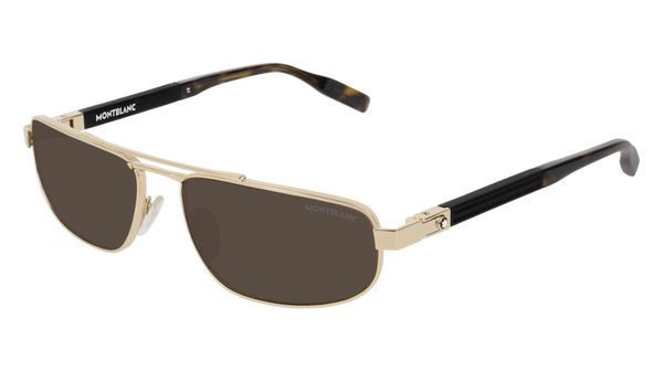 MontBlanc - MB0033S Gold  Sunglasses / Brown Lenses