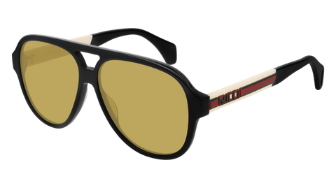 Gucci - GG0463S White Black Sunglasses / Yellow Lenses