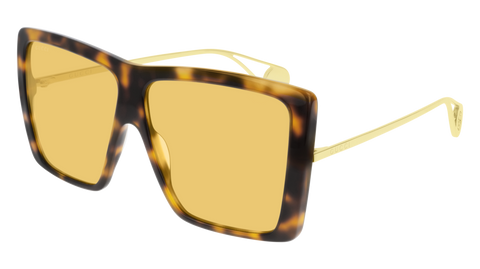Gucci - GG0434S Gold Havana Sunglasses / Yellow Lenses
