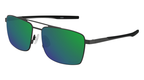Puma - PU0222S Ruthenium Sunglasses / Green Mirror Lenses