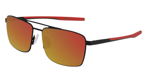 Puma - PU0222S Black Sunglasses / Red Mirror Lenses