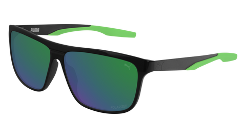 Puma - PU0221S Grey Ruthenium Sunglasses / Green Mirror Lenses