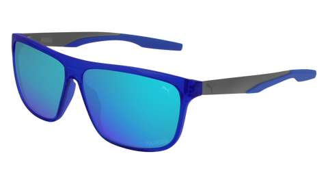 Puma - PU0221S Blue Ruthenium Sunglasses / Blue Mirror Lenses