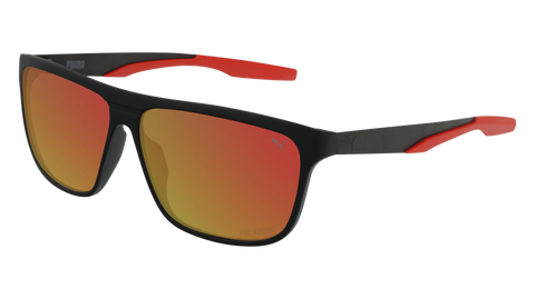 Puma - PU0221S Black Sunglasses / Red Mirror Lenses