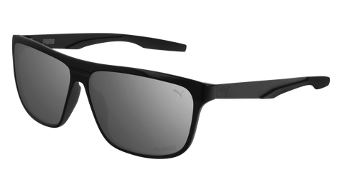 Puma - PU0221S Black Sunglasses / Silver Flash Lenses