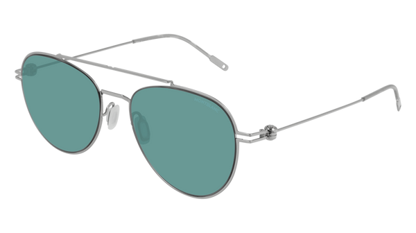 MontBlanc - MB0001S Silver Sunglasses / Green Lenses