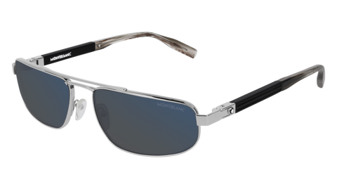 MontBlanc - MB0033S Silver Sunglasses / Blue Lenses