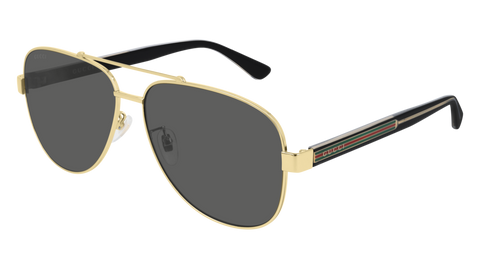 Gucci - GG0528S 63mm Shiny Gold Sunglasses / Grey Lenses