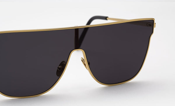 Super - Lenz Flat Top Gold Sunglasses / Black Lenses