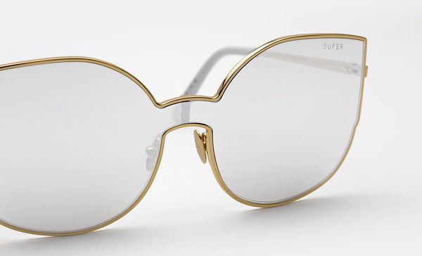 Super - Lenz Lucia Gold Galvanic Sunglasses / Silver Mirror Lenses
