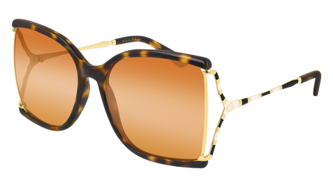 Gucci - GG0592S 60mm Havana  Sunglasses / Orange Lenses