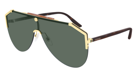 Gucci - GG0584S 99mm Gold Sunglasses / Green Lenses