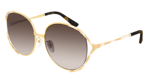 Gucci - GG0595S 59mm  Gold Sunglasses / Brown Lenses