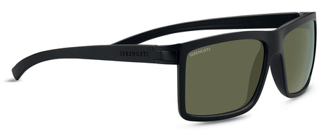 Serengeti - Brera Large Sanded Black Sunglasses / Mineral Polarized 555nm Green Lenses