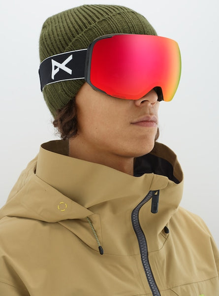 Anon - Men's M2 MFI Lightweight Neck Warmer Black Snow Goggles / Sonar Red + Spare Sonar Blue Lenses