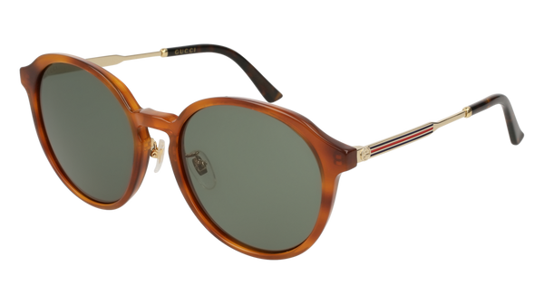 Gucci - GG0205SK Blonde Havana Sunglasses / Green Lenses