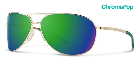 Smith - Serpico 2 Gold Sunglasses / ChromaPop Sun Green Mirror Lenses