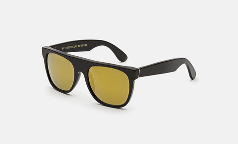 Super - Flat Top 55mm Black Sunglasses / Gold Lenses