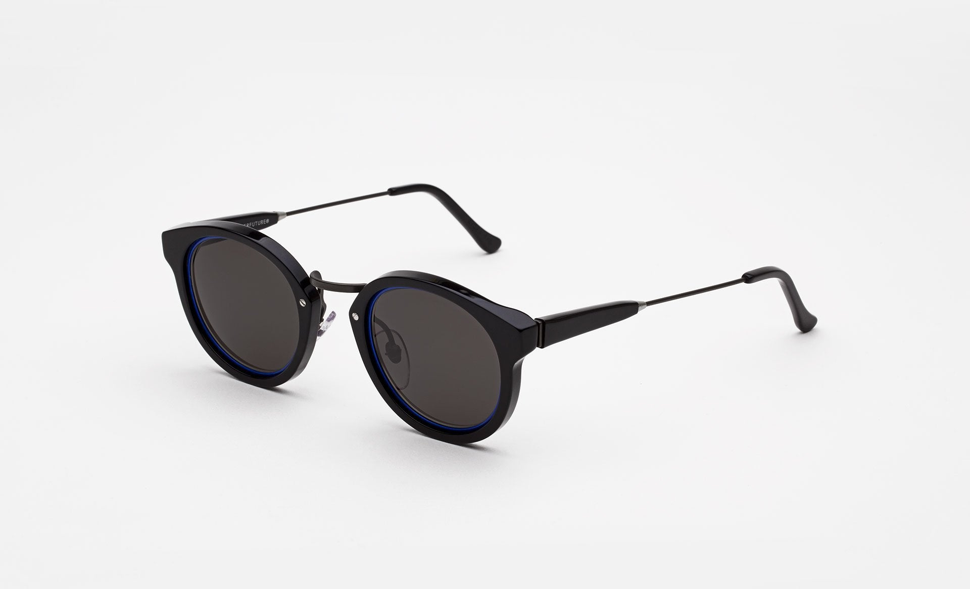 Super - Panama Impero 47mm Black Sunglasses / Blue Lenses