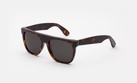 Super - Flat Top Classic Havana 57mm Sunglasses / Black Lenses