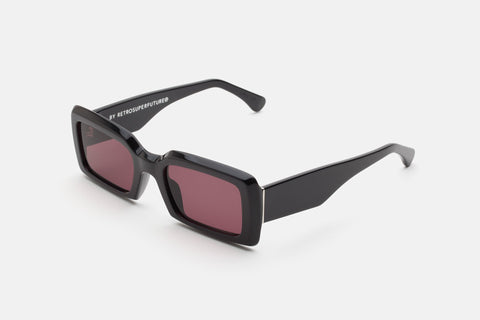Super - Sacro 53mm Black Sunglasses / Burgundy Lenses