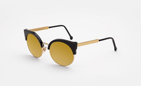 Super - Ilaria Black 24K 53mm Black Sunglasses / Gold Lenses