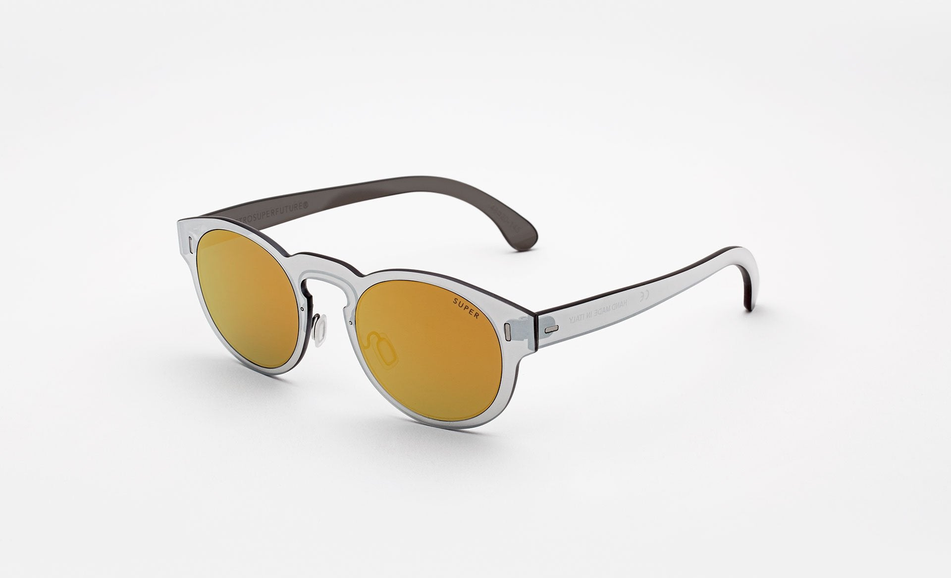 Super - Duo Lens Paloma 48mm Silver Sunglasses / Gold Lenses