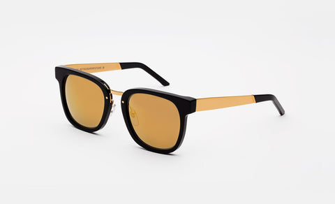 Super - Giorno 54mm Black Sunglasses / Gold Lenses