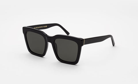 Super - Aalto Shiny Black Sunglasses / Black Lenses
