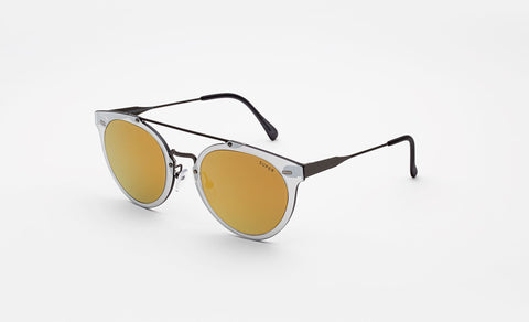 Super - Duo Lens Giaguaro 53mm Silver Sunglasses / Gold Lenses