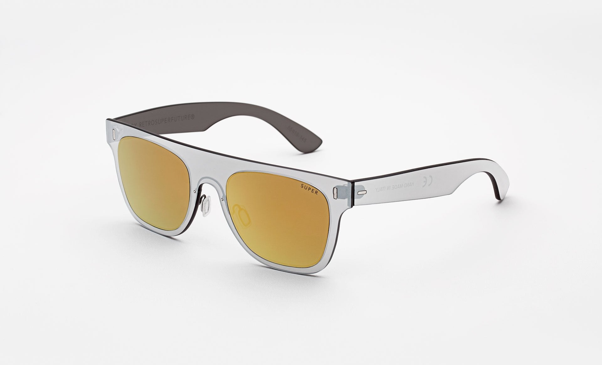 Super - Duo Lens Flat Top 55mm Silver Sunglasses / Gold Lenses