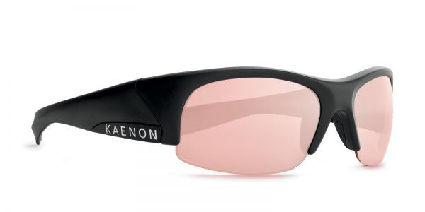 Kaenon - Hard Kore Matte Black/White Sunglasses, C50 Copper-Silver Mirror Lenses