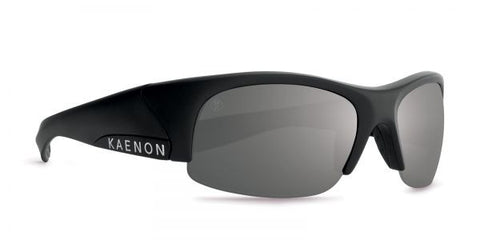 Kaenon - Hard Kore Matte Black/White Sunglasses, G28 Grey-Black Mirror Lenses