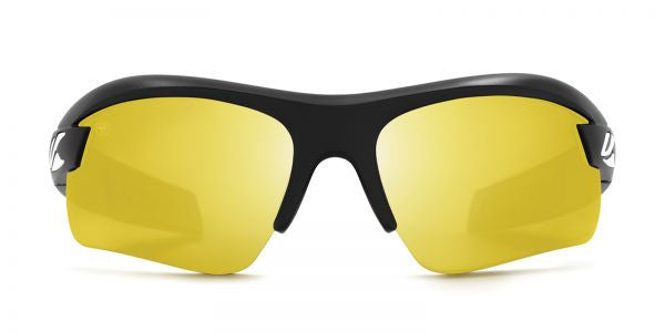 Kaenon - X-Kore Matte Black/White Sunglasses, Y35 Yellow-Silver Mirror Lenses