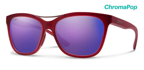 Smith - Cavalier Matte Crystal Deep Maroon Sunglasses / ChromaPop Violet Mirror Lenses