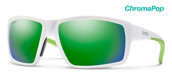 Smith - Hookshot 62mm Matte White Sunglasses / Chromapop Polarized Green Lenses