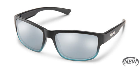 Suncloud - Suspect Matte Black + Green Fade Sunglasses / Polarized Silver Mirror Lenses
