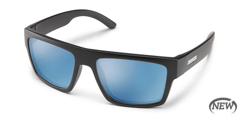 Suncloud - Flatline Matte Black Sunglasses / Polarized Blue Mirror Lenses