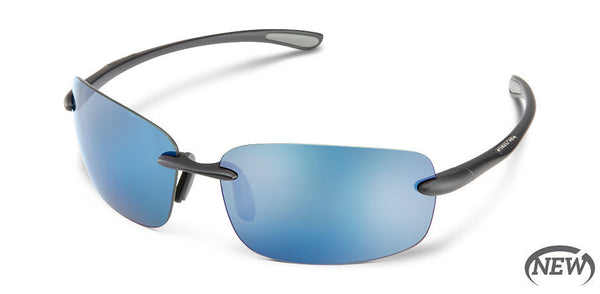 Suncloud - Topline Matte Black Sunglasses / Polarized Blue Mirror Lenses
