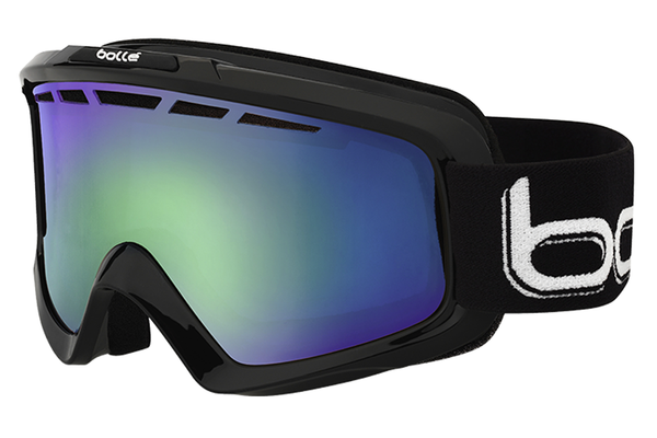 Bolle - Nova II Shiny Black Goggles, Green Emerald Lenses