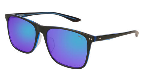 Puma - PU0127SA Black Sunglasses / Blue Mirror Lenses