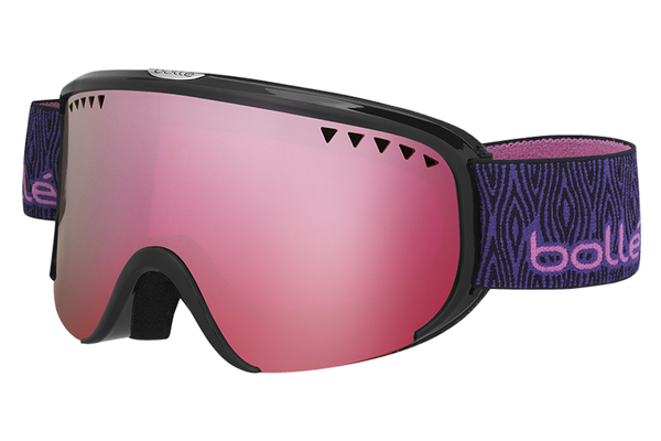 Bolle - Scarlett Shiny Black Purple Wood Goggles, Vermillon Gun Lenses