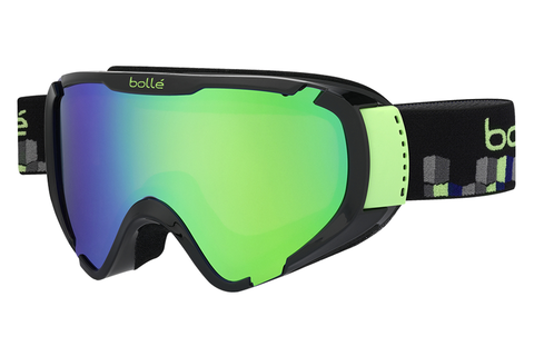 Bolle - Explorer Shiny Black Cubes Goggles, Green Emerald Lenses