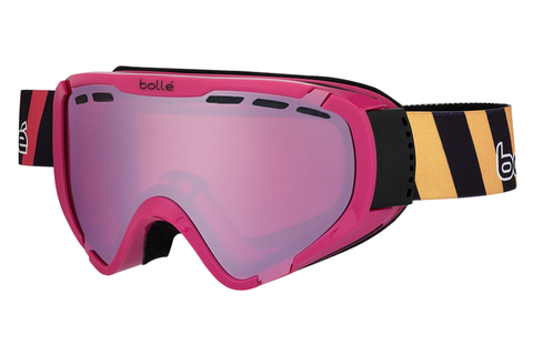 Bolle - Explorer Shiny Pink Stripes Goggles, Vermillon Gun Lenses