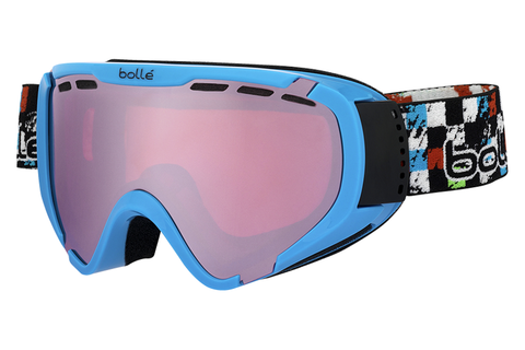 Bolle - Explorer Shiny Blue Checker Goggles, Vermillon Gun Lenses