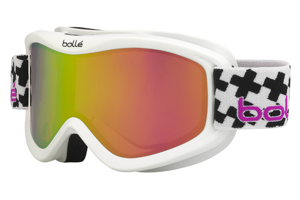 Bolle - Volt Plus Matte White Cross Goggles, Rose Gold Lenses