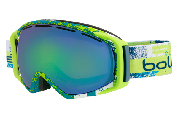 Bolle - Gravity Matte Lime & Teal Zenith Goggles, Green Emerald Lenses